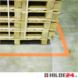 Bodenmarkierungsband orange, zur Kennzeichnung innerbetrieblicher Verkehrswege, Lagerflächen und Gefahrenzonen | HILDE24 GmbH