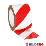 Bodenmarkierungsband, rot/weiß schraffiert, 50 mm x 33 lfm | HILDE24 GmbH