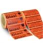 Haftetiketten, selbstklebend, mit Warnhinweis -Bruchgefahr- und -Vorsicht Glas-