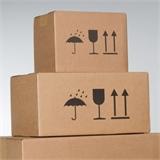 Kartons mit Symboldrucken