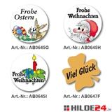 Motivaufkleber aus hochglänzendem weißen Haftpapier mit Weihnachtsmotiv, Ostermotiv | HILDE24 GmbH