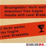 PP Warnklebeband - Bruchgefahr, Nicht werfen - HILDE24 Verpackungen