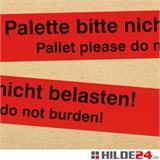 PVC Warnklebeband - rot mit schwarzem Druck -Palette bitte nicht belasten- deutsch und englisch - HILDE24 Verpackungen