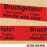 PVC Warnklebeband -Bruchgefahr-Bitte nicht werfen- deutsch und englisch - HILDE24 Verpackungen