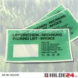Papier-Begleitpapiertaschenn, Lang-DIN, mit dunkelgrüner Fläche und Fenster links | HILDE24 GmbH