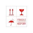 Warnetiketten selbstklebend - 100 x 100 mm - weiß mit rotem Druck Fragile -Keep dry - Regenschirm - Kelch - Doppelpfeile nach oben - HILDE24 Verpackungen