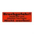 Warnetiketten selbstklebend - 150 x 50 mm - leuchtrot mit schwarzem Druck Bruchgefahr! Nicht werfen! - HILDE24 Verpackungen