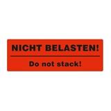 Warnetiketten selbstklebend - 150 x 50 mm - leuchtrot mit schwarzem Druck Nicht belasten! Do not stack! - HILDE24 Verpackungen