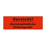Warnetiketten selbstklebend - 150 x 50 mm - leuchtrot mit schwarzem Druck Vorsicht! Hochempfindliche Elektrogeräte - HILDE24 Verpackungen