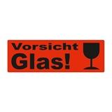 Warnetiketten selbstklebend - 150 x 50 mm - leuchtrot mit schwarzem Druck Vorsicht Glas und Symbol Kelch - HILDE24 Verpackungen