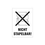 Warnetiketten selbstklebend - 74 x 105 mm - weiß mit schwarzem Symbol Nicht stapelbar! - HILDE24 Verpackungen