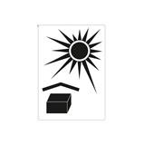 Warnetiketten selbstklebend - 74 x 105 mm - weiß mit schwarzem Symbol Vor Hitze schützen - HILDE24 Verpackungen