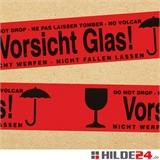 Warnklebeband - Vorsicht Glas, Nicht werfen, Nicht fallen lassen - HILDE24 Verpackungen