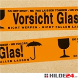 Warnklebeband Vorsicht Glas - 48 mm x 66 lfm - HILDE24 Verpackungen