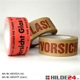 Warnklebeband aus Papier, rot und braun, Rolle: 50 mm x 50 lfm | HILDE24 GmbH